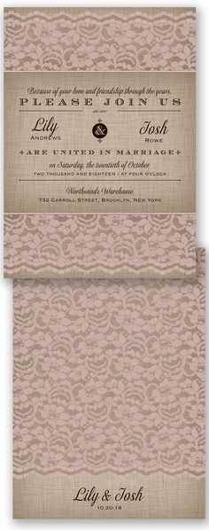 Light pink lace is such a romantic touch to a wedding invitation.