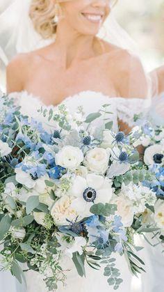 Peony Bouquet Wedding, Summer Wedding Bouquets, Blue Wedding Flowers, Bridal Flowers, Wedding Colors, Wedding Ideas, Blue Bridesmaids, Bridesmaid Flowers, Ice Blue Weddings
