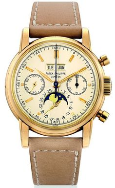 Unique Patek Philippe pink gold watch with chronograph, moon phases, and perpetual calendar (Reference 2499), 1968