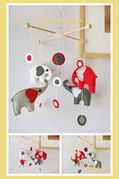 Elephants Baby Mobile - Nursery Mobile - Modern Hanging Mobile - Polka Dot Grey Red White Elephants with modern circles theme(U pick colors)
