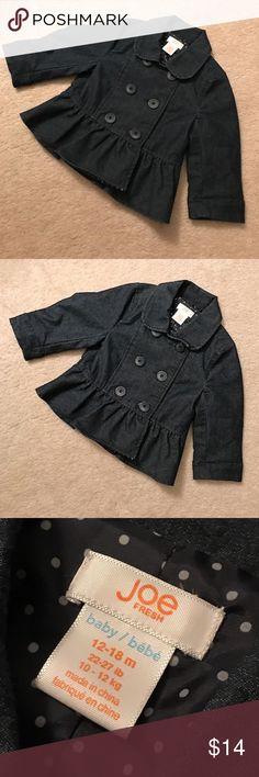 Joe Fresh✨Baby Denim Jacket Size 12-18 months. Denim peplum jacket. Like new. Joe Fresh Jackets & Coats