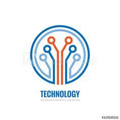 Technology - vector logo concept illustration for corporate identity. Computer Logo, Vector Technology, Internet Logo, Logo Sign, Logo Concept, Logo Images, Corporate Identity, Tech Logos, Lululemon Logo