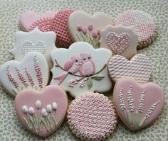 Pink & White Flowers, Hearts & Birds Cookies