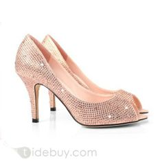 Charming Stain and Leather Upper Stiletto Heel Peep-toes Wedding Bridal Shoes : Tidebuy.com