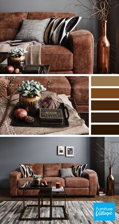 Sophisticated and stylish, brown is the new colour in town. For our top picks an. Sophisticated and stylish, brown is the new colour in town. For our top picks and tips on how to st Brown Living Room Decor, Home Living Room, Farm House Living Room, Living Room Color Schemes, Brown Sofa Living Room, Cream Living Rooms, Living Room Grey, Couches Living Room, Brown Walls Living Room