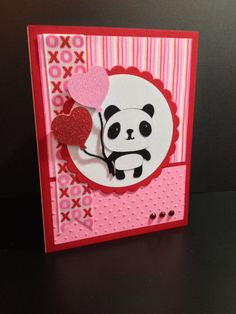 Valentines card made-panda is from Cricut Create a Critter cartridge