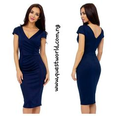 Navy Marcella Midi Dress size 10 12 14 #12000 Free delivery all mth enter QWFREEDELIVERY on www.questworld.com.ng Pay on delivery in Lagos.Nationwide Delivery