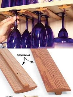 Repurpose T-Molding to slide hang wine glasses: to create more space when not enough in cabinets