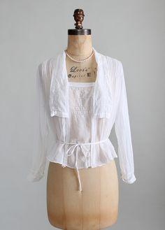 Vintage Edwardian White Gossamer Cotton Blouse