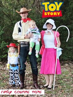 We're doing Toy Story family costumes this year for our Halloween costume theme! Check out where we purchased half of our Toy Story Halloween costumes and how we DIYed the rest, including a Bo Peep costume for adults. Halloween Bebes, Baby Halloween Costumes For Boys, Diy Halloween Costumes For Kids, Halloween Party, Scary Halloween, Halloween Couples, Group Halloween, Homemade Halloween, Disney Halloween