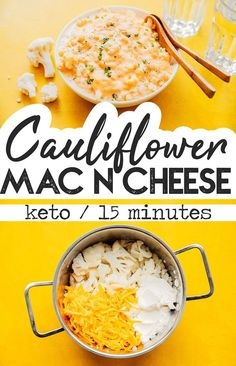 Cauliflower - Keto Vegetarian - Ideas of Keto Vegetarian - This Cauliflower Mac and Cheese is an ultra-easy keto recipe that can be made in just 15 minutes! Its a low carb dinner idea thats full of flavor and perfect for family pasta night! Veggie Keto, Vegetarian Keto, Vegetarian Recipes Dinner, Veggie Pasta, Vegetarian Appetizers, Lunch Recipes, Keto Mac And Cheese, Macaroni Cheese, Low Carb Dinner Recipes