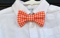 Orange & White Houndstooth University of Tennessee Adjustable Baby / Toddler / Child Bowtie on Etsy, $18.00