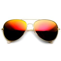 Large Classic Metal Frame Flash Mirror Lens Aviator Sunglasses