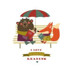 Cute fox and funny bear reading books on bench vector art illustration