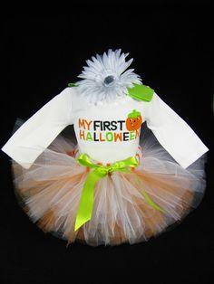 "Babys First Halloween Outfit  "" My First Halloween "" - Girls Halloween Tutu Bodysuit and Headband Set - Size 3-6 Months $38"