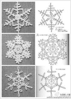 crochet snowflakes at . Crochet Snowflake Pattern, Crochet Stars, Crochet Motifs, Crochet Snowflakes, Crochet Diagram, Crochet Doilies, Crochet Flowers, Crochet Stitches, Crochet Patterns