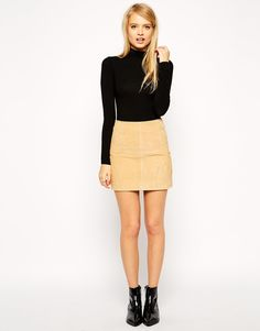 Image 1 of ASOS Mini Skirt in Suede