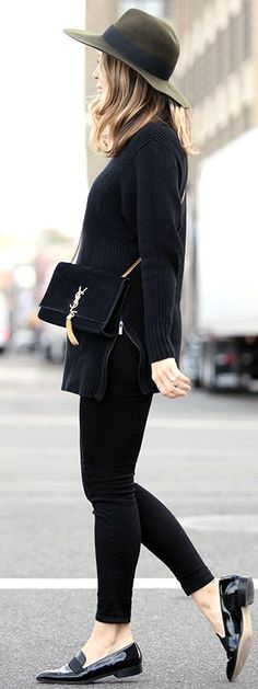 All black chic // Olive Hat With All In Black Fall Street Style Inspo by Brooklyn Blonde