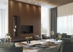 & & & & & Apartments in Saudi Arabia (part Design and Visualization: VizLine Studio Beautiful Interior Design, Best Interior, Decor Interior Design, Interior Design Living Room, Living Room Designs, Room Interior, Tv Feature Wall, Feature Wall Design, Bedroom Bed Design