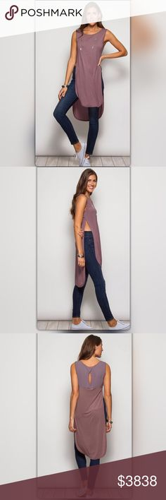 Coming Soon! Mauve Tunic Top Shipping next week! Casual, cool, and sexy! This tunic has a deep side split adding style to your weekend look. The back has contrasting fabric and a keyhole opening. The material is a silk blend. Like to be notified when it arrives or pre-order for only $29. Price is $38. NEW Boutique Tops Tunics