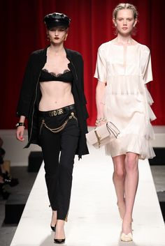 Moschino Spring 2014 Ready-to-Wear Fashion Show - Katlin Aas and Holly Rose Emery