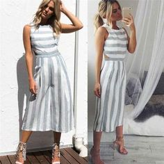 d9ca95a16be3 Jumpsuit Bohemian New Women Sleeveless Striped Jumpsuit Casual Clubwear  Wide Leg Pants Outfit Playsuit Overalls feminino July 11