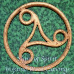 Triskele-Celtic Carving-Cycle of Life, Death, Rebirth-Perpetual Motion   signsofspirit - Woodworking on ArtFire