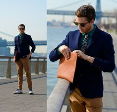 Similar Here  > Blazer, Cottontreats Paisley Tie, Similar Here  > Manvelope, Merona Shirt, Similar Here  > Trousers, Tommy Hilfiger Leno Oxfords