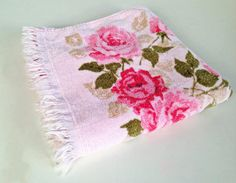 vintage pink roses cotton bath towel by forrestinavintage on Etsy, $14.00