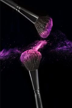 Pink & Purple Makeup Brush Photography