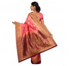 Zari work tusser silk saree in brown and pink
