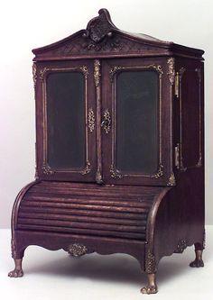 French Louis XV accessories miniature furniture walnut