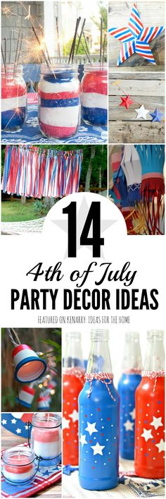 Wow! So many great 4th of July party ideas. These will be great decorations for a red, white and blue backyard barbecue or picnic for Independence Day -- and Memorial Day and Labor Day too! Patriotic Crafts, July Crafts, Patriotic Party, Holiday Crafts, Holiday Ideas, Fourth Of July Food, 4th Of July Celebration, 4th Of July Party, July 4th