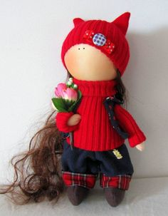 CLOTH DOLL handmade doll fabric doll Emili by NICEDOLLSANDRABBITS