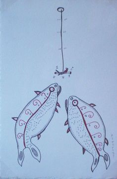 Ink Drawing by artist Norval Morrisseau, this painting shows a unique and playful perspective of two fish under the water in the act of following a fisherman lure. Native Canadian, Canadian Artists, Native American, Woodlands School, Wind Sculptures, Group Of Seven, Two Fish, Create Words, Fine Art Gallery