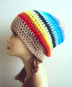 Women Crochet Slouchy Beanie Spring Hat Summer Hat Dreadlock Hat Festival Hat Rasta Beanie Beach Accessories Rainbow Hat Street Style