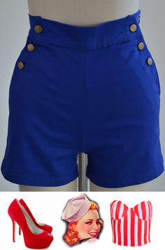 just listed! brand new! go here: http://www.ebay.com/itm/50s-Style-BLUE-High-Waist-PINUP-Shorts-NAUTICAL-Inspired-BUTTON-Detail-/140841795620?pt=US_CSA_WC_Shorts==item66769a5ddf