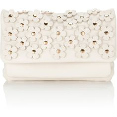 Accessorize Daisy Cut-out Across Body Bag ($11) ❤ liked on Polyvore featuring bags, handbags, clutches, purses, accessories, bolsas, cream, white handbags, crossbody handbags and white clutches