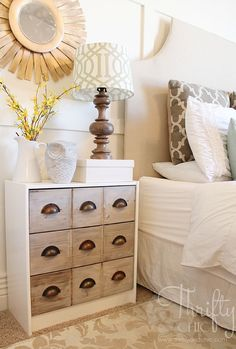 Guest room Idea-Ikea Rast Dresser Hack -turned into a cute apothecary cabinet nighstand Furniture Makeover, Diy Furniture, Furniture Projects, Home Bedroom, Bedroom Decor, Ikea Rast Dresser, Dresser Top, Home And Deco, Home Projects