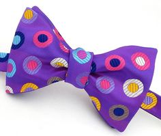 Multicolor Purple Pure Silk Mens Bow Tie  by VaVaNeckwear on Etsy, £45.00      ...because bow ties are cool.