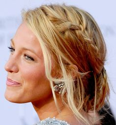 #Blake Lively #LooseBun  Blake Lively looked breezy and sun-kissed at the BAFTA awards where she complemented her Marchesa gown with a loose updo that featured a side braid.