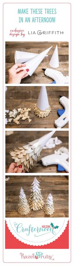 Christmas DIY: Make home decor in a Make home decor in an afternoon with the Holiday Crafternoon kits! Shimmer Paper Trees are a great afternoon DIY the whole family and can help with! Christmas Projects, Holiday Crafts, Holiday Fun, Fun Crafts, Noel Christmas, Winter Christmas, Christmas Ornaments, Winter Diy, Cool Winter