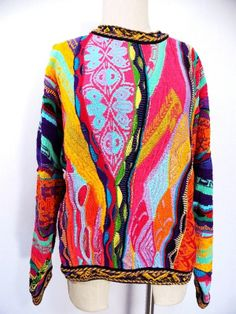 Coogi Cosby Sweater Sz M Mercerised Cotton Multi Color 3D Vtg Mens Australia  #Coogi #Crewneck