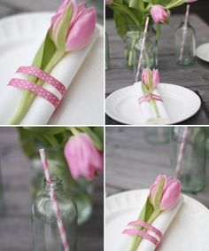 Tinker Easter table decoration - table decoration ideas with flowers and Easter eggs - - Beautiful Table Settings, Festa Party, Deco Floral, Napkin Folding, Decoration Table, Flowers Decoration, Easter Table Decorations, Tablescapes, Wedding Decor