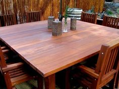 Patio Furniture, Patio Tables by http://www.foreverredwood.com/square-wood-patio-table.html