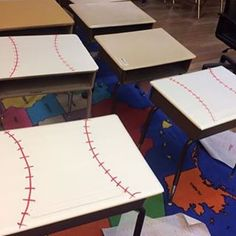 Check out what my friend Melissa did to her students' desk!! She has a baseball theme this year and is covering the desk with contact paper. I ❤️ it!! #teachershare  #classroom (scheduled via http://www.tailwindapp.com?utm_source=pinterest&utm_medium=twpin&utm_content=post55206652&utm_campaign=scheduler_attribution)