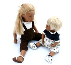 Sasha blonde Jeans 1968 and Baby Woolly redressed 1970
