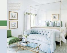Peaceful pale blue bedroom
