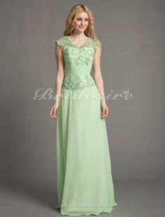 A-line Chiffon Floor-length V-neck Mother of the Bride Dress With Appliques - $129.99