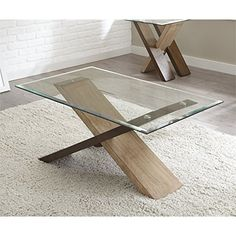 Steve Silver Coffee Table in Natural and Deep Cherry Finish Beveled glass prime for stunning under-top show Cross-tie base Gives a chic and rustic look Comprised of contrasting birch veneers Silver Coffee Table, Coffee Table Rectangle, Glass Top Coffee Table, Coffe Table, Glass Table, Wood Table, A Table, Dining Table, Rustic Table
